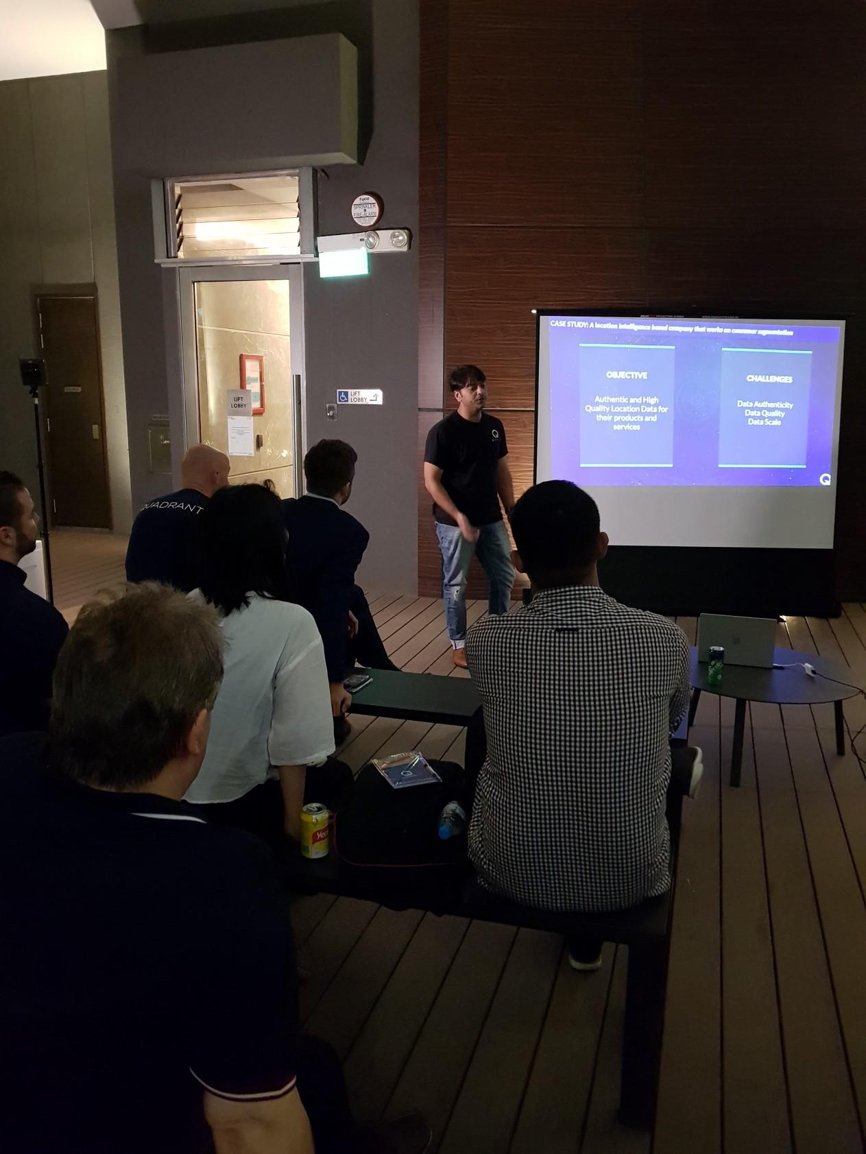 Big Data and Blockchain Engineer Sharique Azam presenting a Use Case of Quadrant